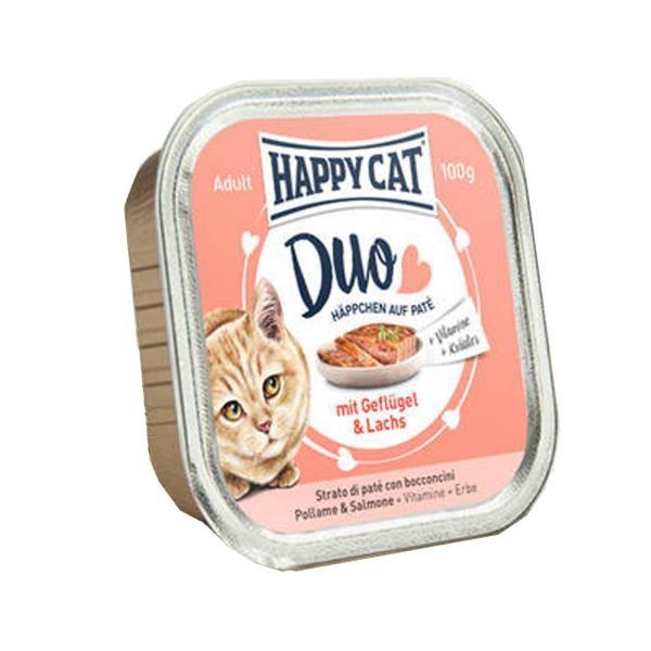 Happy Cat Duo Häppchen auf Paté - Geflügel & Lachs 12x 100g