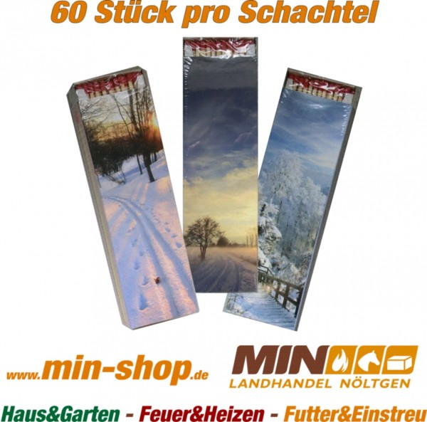 Streichhölzer ca. 29 cm lang Schachtel 60 Stück mit Winter Motiv