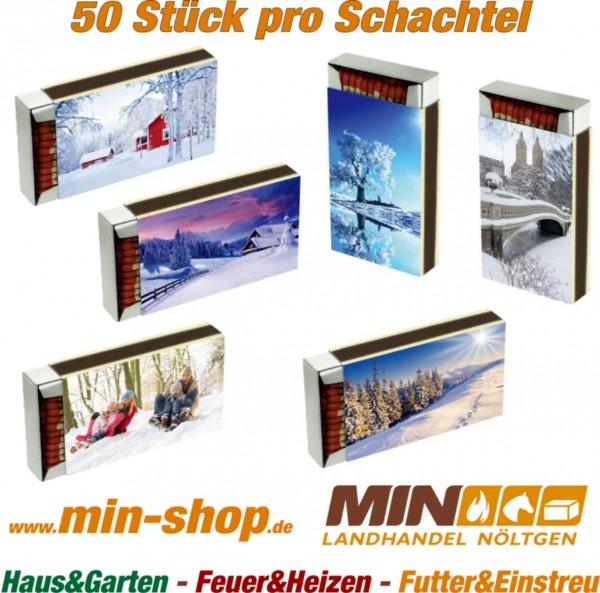 Streichhölzer ca. 10 cm lang Schachtel 50 Stück mit Wintermotiv