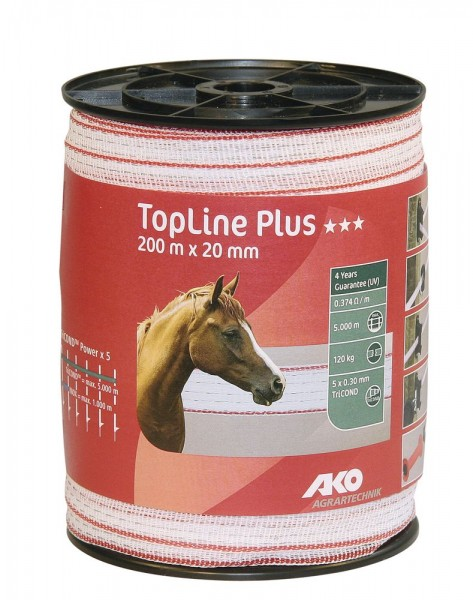 Band TopLine Plus, 200m, 20mm, weiß/rot, 5x0,3mm TriCOND