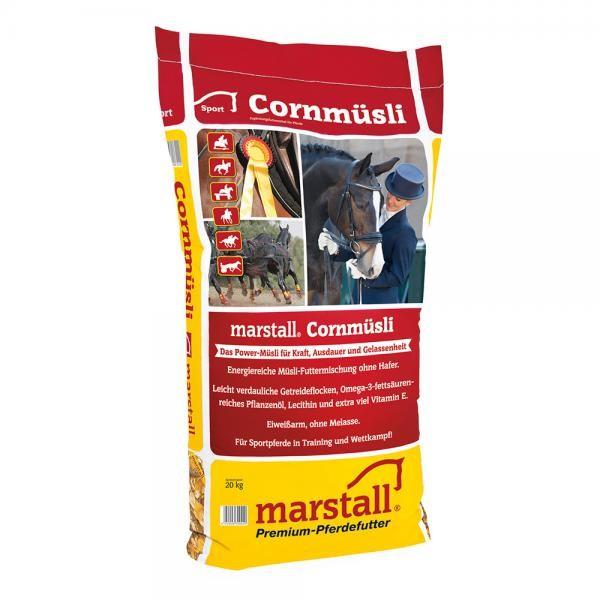 marstall Sport-Linie Cornmüsli 20kg - eiweißreduziertes Kraftfutter für Pferde