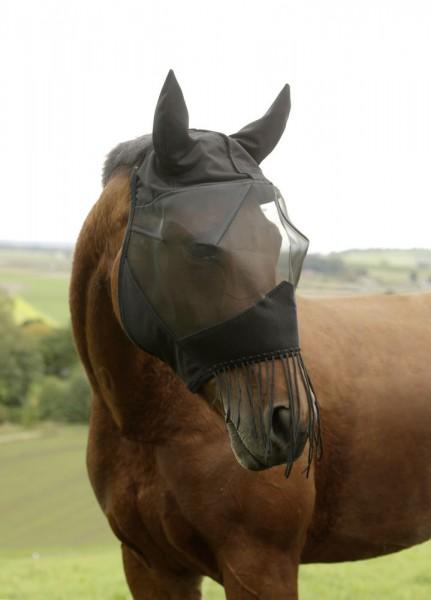 Fliegenmaske mit Ohrenschutz und Nüsternkordel schwarz
