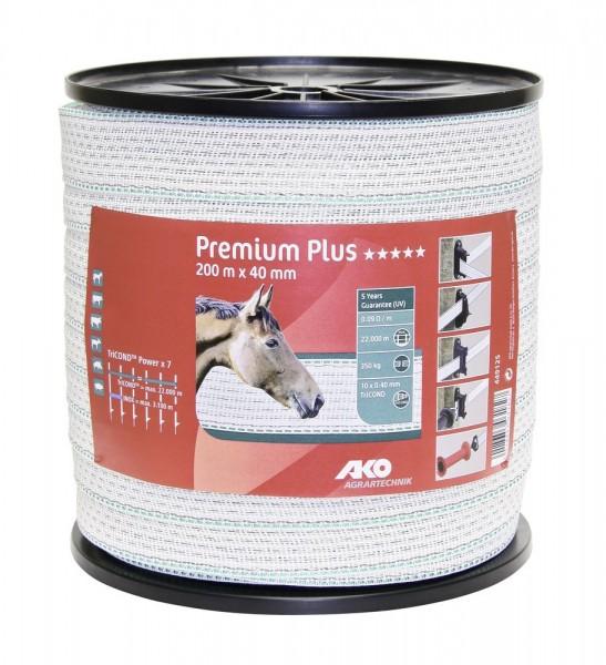 Premium Plus Weidezaunband, 200m, 40mm, weiß/grün