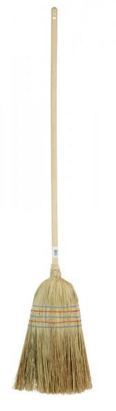 Reisstrohbesen 5-Naht mit lackiertem Stiel, 135cm