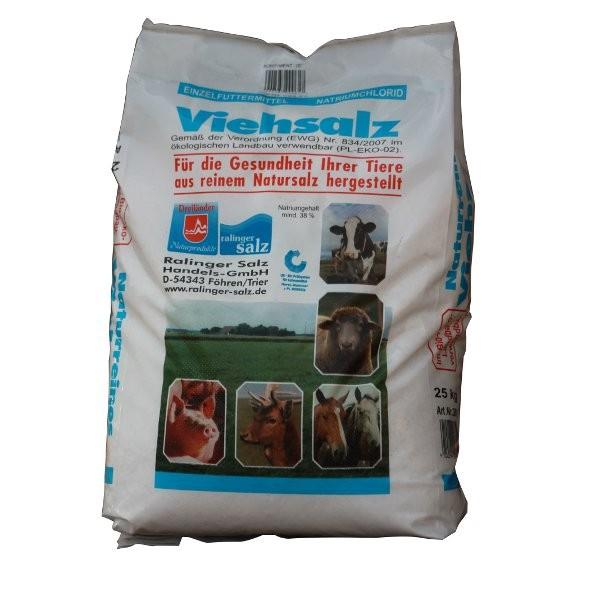 Viehsalz / Steinsalz Körn.E2 - Einzelfuttermittel für Tiere aus reinem Natursalz 25kg