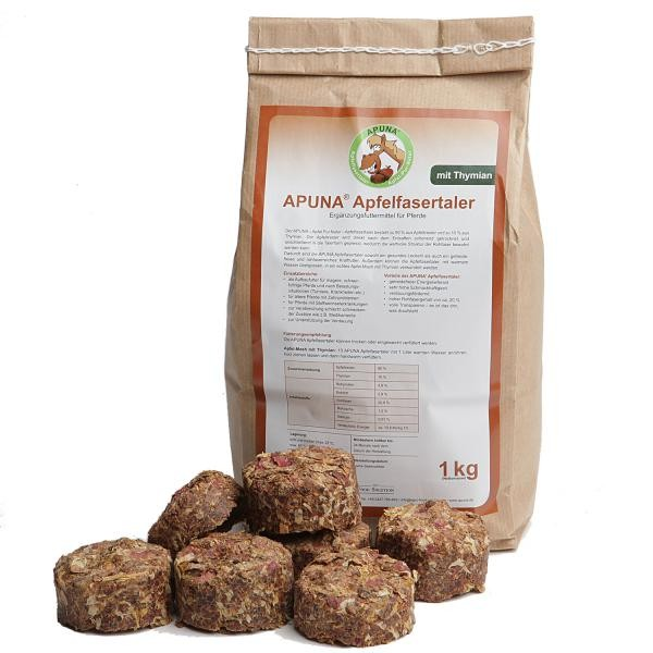 APUNA Apfelfasertaler Thymian - Leckerli mit Apfeltrester für Pferde 1kg