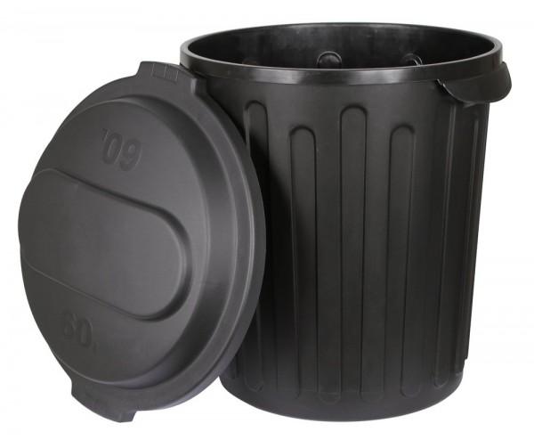 Futtertonne mit Deckel, 70 ltr, schwarz